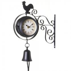 Reloj estacion clasico doble cara negro
