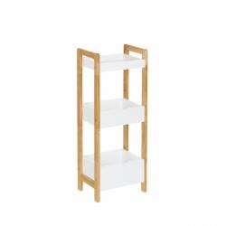 Estantería de 3 baldas nórdica blanca de bambú para cuarto de baño Basic