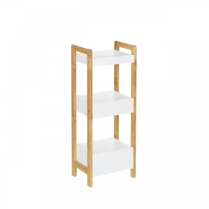 Estanter a de 3 baldas n rdica blanca de bamb para cuarto - Estanterias de pared para cuarto de bano ...