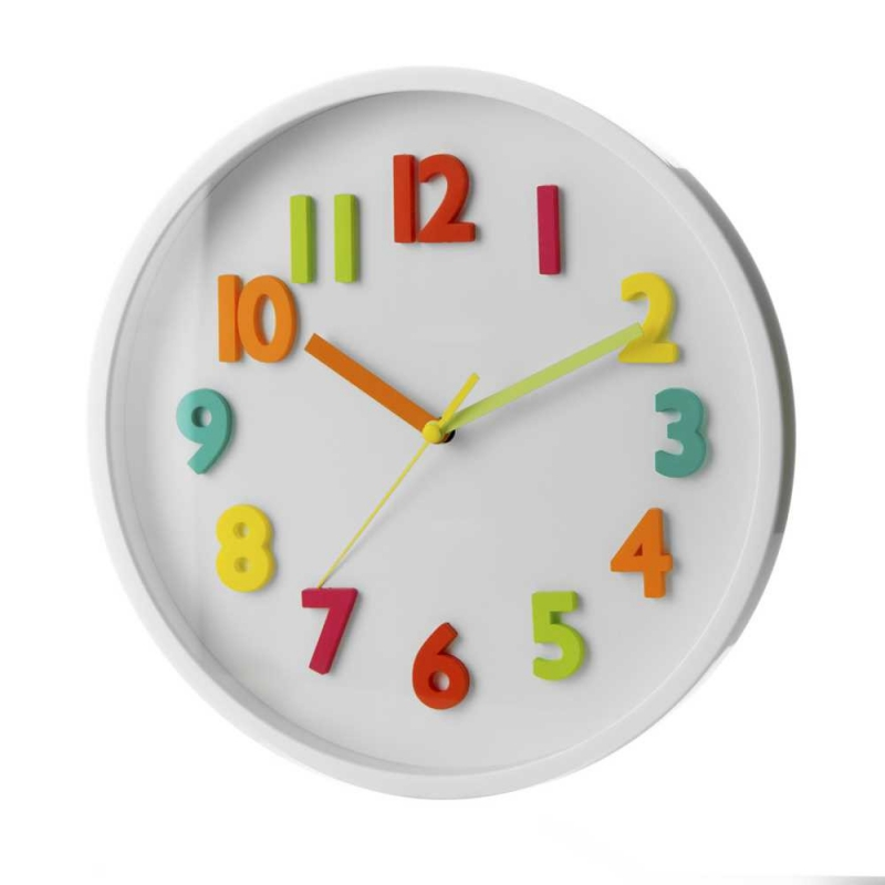 Reloj de pared infantil blanco de pl stico para dormitorio child - Relojes de pared infantiles ...