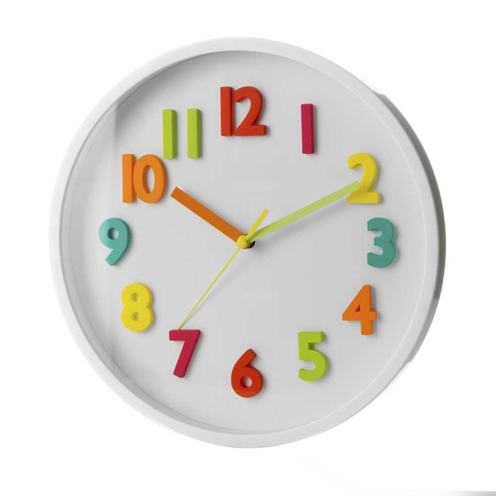 Reloj de pared infantil blanco de plástico para dormitorio