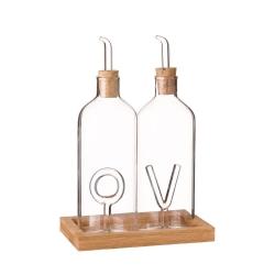 Aceitera antigoteo y vinagrera de cristal transparente vintage para cocina Basic