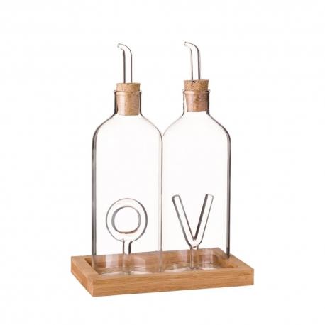 Aceitera antigoteo y vinagrera de cristal transparente vintage para cocina basic - Aceiteras de cristal ...