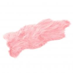 Alfombra de pelo rosa de microfibra moderna para dormitorio de 57 x 94 cm France