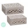 Cajas madera natural tallada rectangular