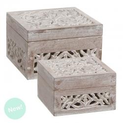 Cajas madera natural tallada cuadrado