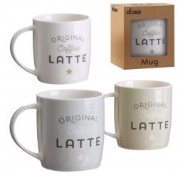 Set 3 taza ceramica bistro original latte en caja de regalo