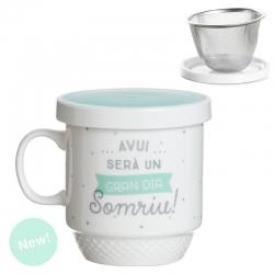 """Taza con filtro catala """" Avui Sera Un Gran Dia Somriu """""""