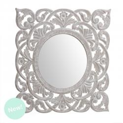 Mural de espejo cuadrado madera natural 55x55 cm