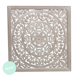 Panel tallada cuadrado madera natural 90x90 cm