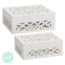 Cajas madera blanco tallada rectangular
