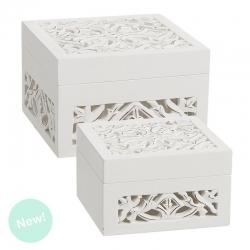 Cajas madera blanco tallada cuadrado