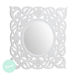 Mural de espejo cuadrado madera blanco 55x55 cm