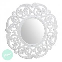 Mural de espejo redondo madera blanco 60x60 cm