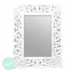 Mural de espejo tallada blanco 45x60 cm