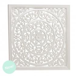 Panel tallada cuadrado madera blanco 90x90 cm