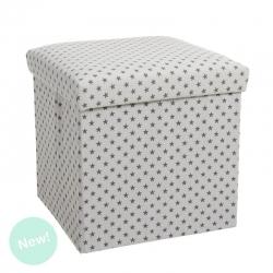 Puff plegable minimalista blanco estrellas para dormitorio