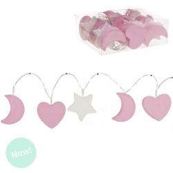 Guirnalda 10 leds rosa corazon, luna , estrella