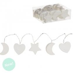 Guirnalda 10 leds blanca corazon, luna , estrella