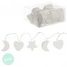 Guirnalda 18 leds blanca corazon, luna , estrella