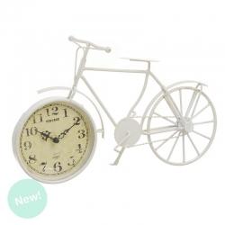 Reloj sobremesa metal bici crema