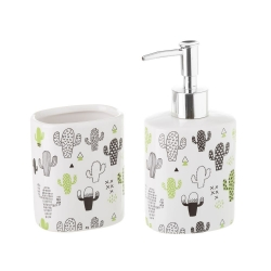 Set baño 2 piezas ceramica cactus verde