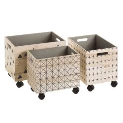 Set 3 cajas paulonia con rueda
