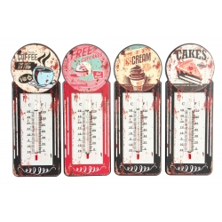 Termometro de pared metal vintage coffee 10x29cm ( Pack 4 termometro )