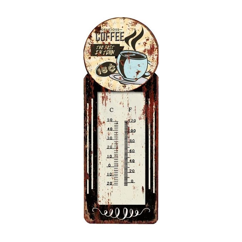 Termometro de pared metal vintage coffee 10x29cm pack 4 termometro dcasa - Termometro de pared ...