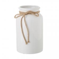 Jarrón de cerámica blanco de diseño rústico para salón Vitta