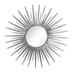 Espejo de metal sol plateado moderno para salón de 85 cm Sol Naciente