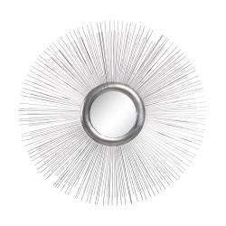Espejo de metal sol plateado minimalista para salón de 80 cm Sol Naciente