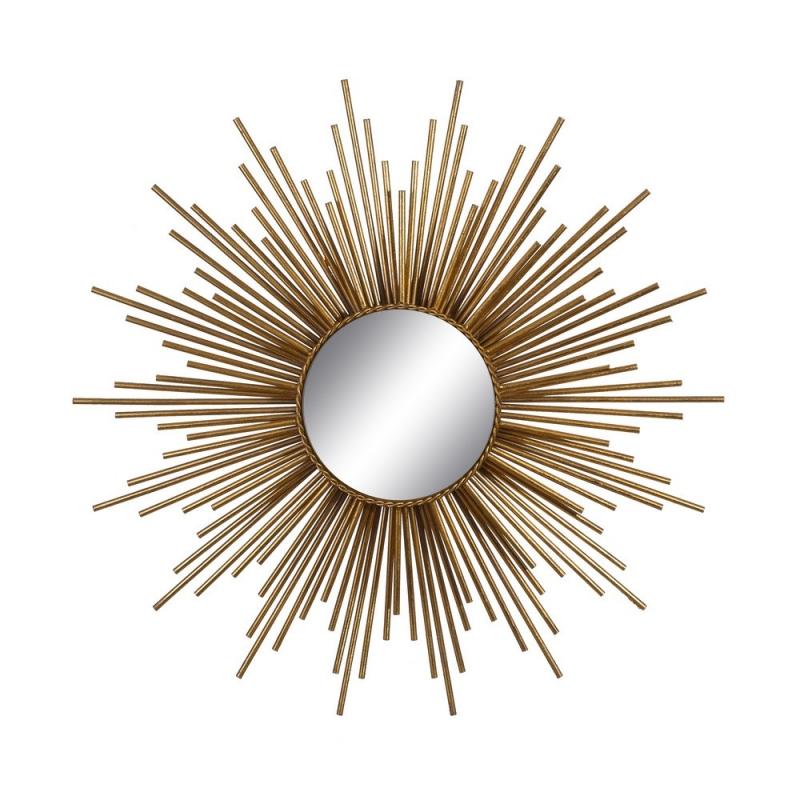 Espejo sol de metal dorado moderno para sal n de 80 cm sol for Espejos decorativos dorados