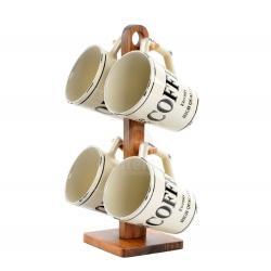 Tazas de cafe gres vintage con soporte