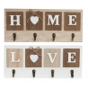 Set 2 Perchero pared 4 colgador madera Home & Love