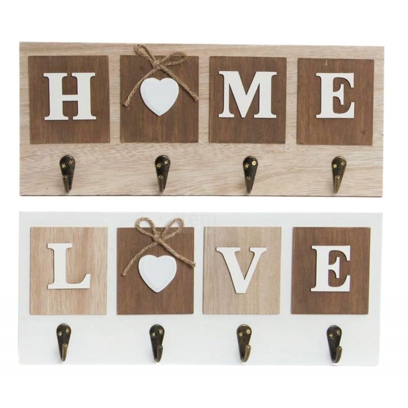 Set 2 Perchero pared 4 colgador madera Home   Love 63ce7cc4fabc
