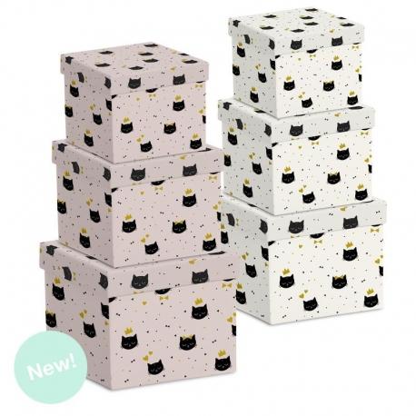 """Juego 3 cajas regalo diseño """"Cat Lover"""""""