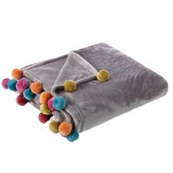 Manta de sofá gris de poliéster para salón Iris 130x160cm