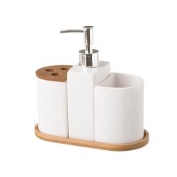Dispensador y portacepillos de baño de cerámica blanco nórdico para cuarto de baño Fantasy
