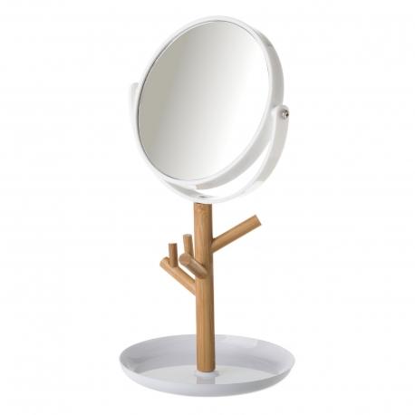 Espejo de 2 aumentos blanco de bambú nórdico para cuarto de baño Fantasy