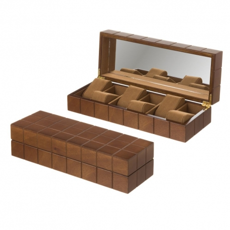 Joyero para relojes de madera marrón moderno para dormitorio Bretaña