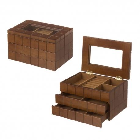 Joyero de madera con 2 cajones marrón moderno para dormitorio Bretaña