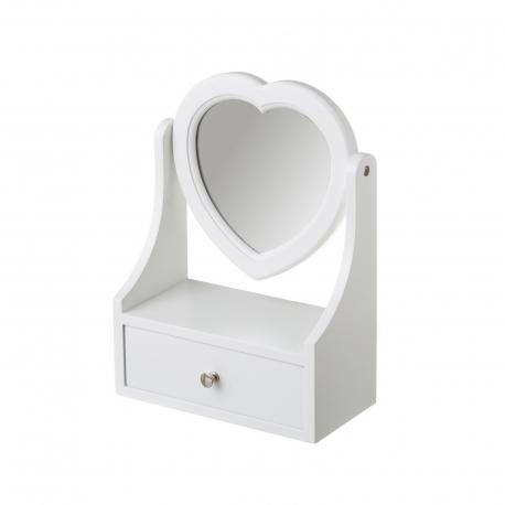 Joyero de madera con 1 cajón blanco minimalista para dormitorio Fantasy
