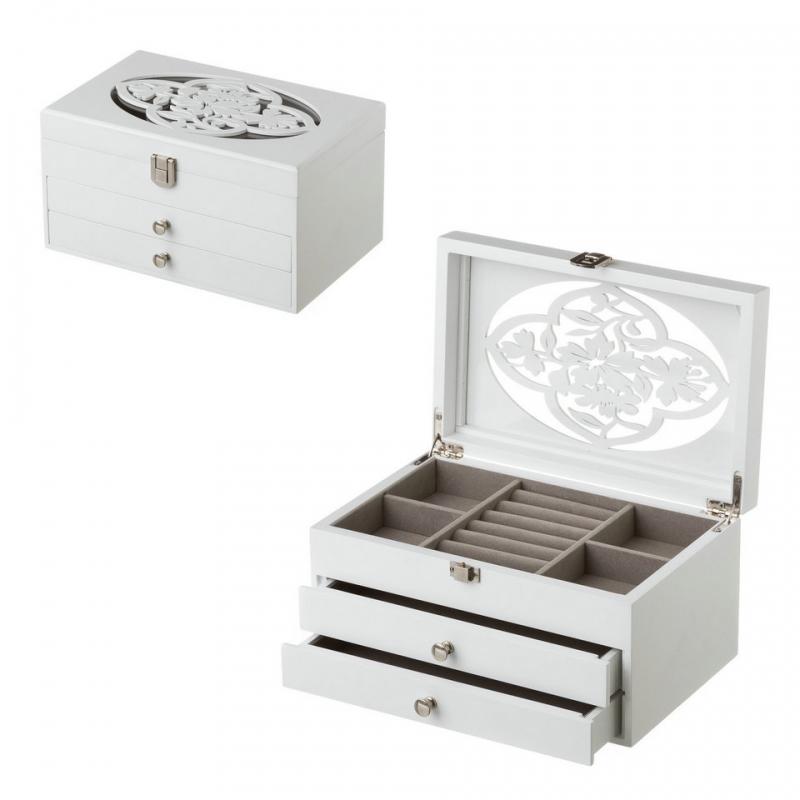 44ef460d3a3e Joyero de madera con 2 cajones blanco romántico para dormitorio Fantasy ...