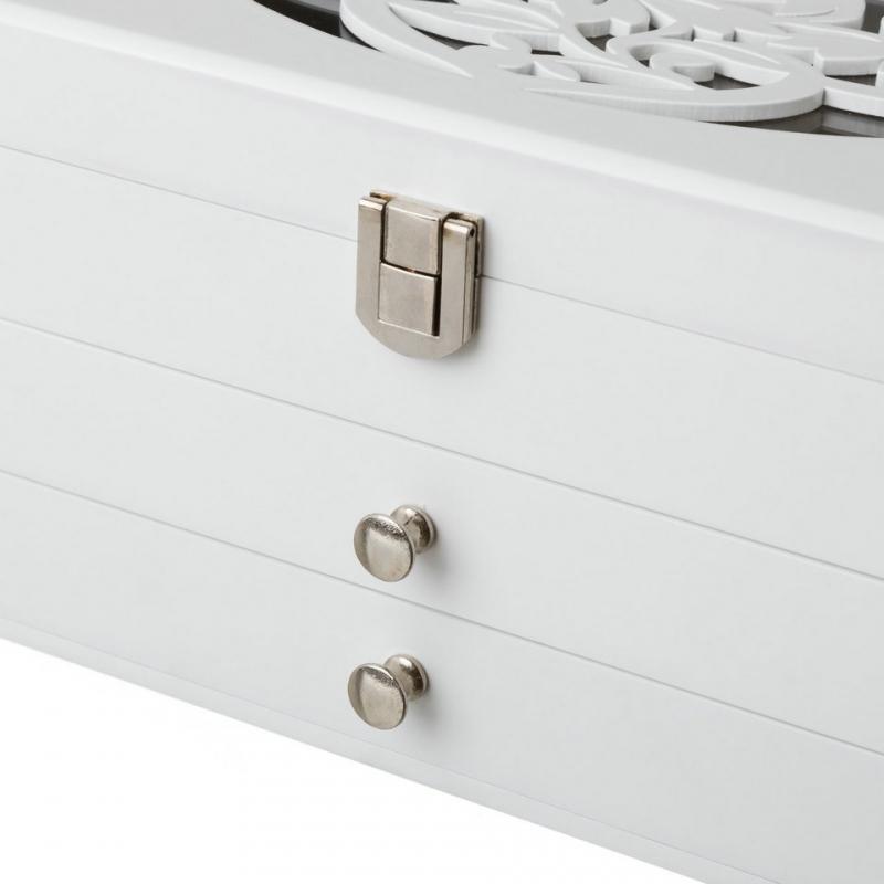 2d181175e6e6 ... Joyero de madera con 2 cajones blanco romántico para dormitorio Fantasy  ...