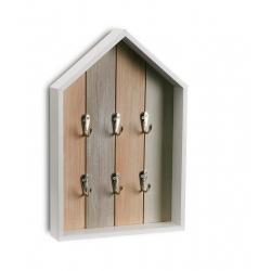Caja llaves 6 colgadores de madera