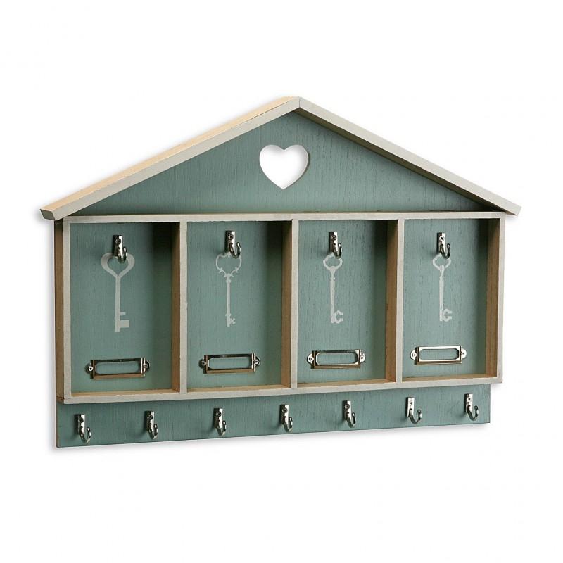 Caja colgadores de llaves madera for Colgadores de madera