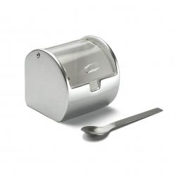 Azucarero ceramica plata con tapa acrilica
