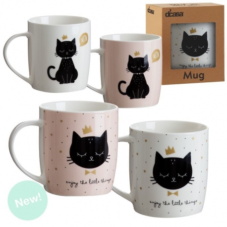 Set 4 tazas ceramica Cat lover