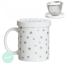 Taza de infusion estrellas plata en caja de regalo